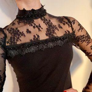 Anna Sui black lace blouse